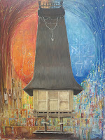 Painting of an East Timorese sacred house.