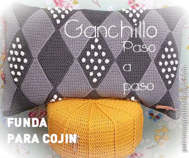 tutorial funda para almohadón tejida con crochet