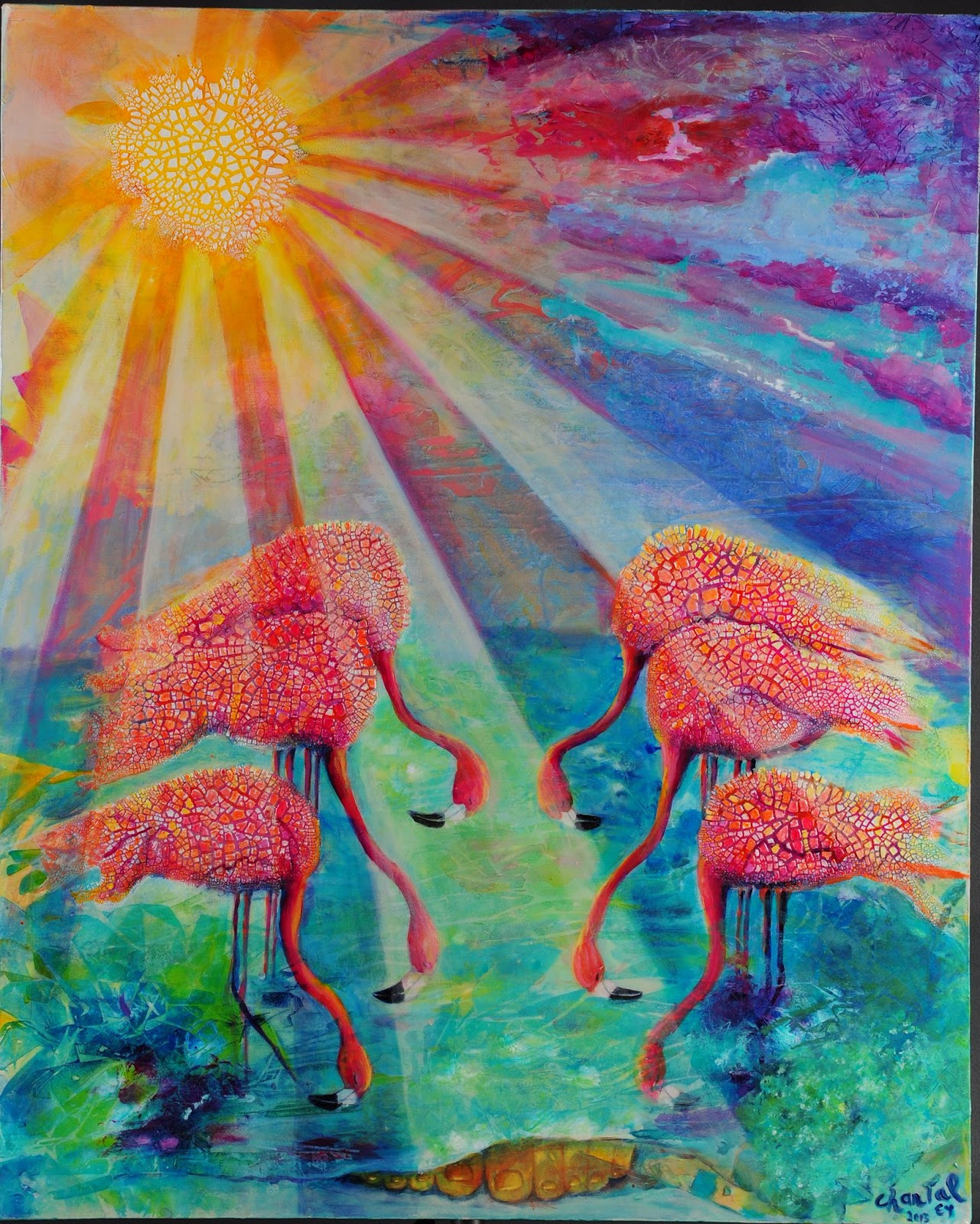image   Omemee Baptist Church -World Day of Prayer Image - six flamingos with heads bowed