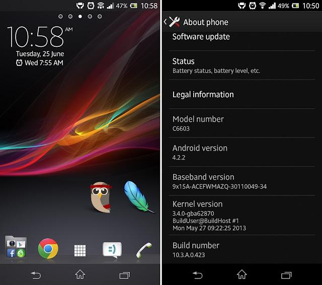 Sony Xperia Z 4.2.2 JB Update