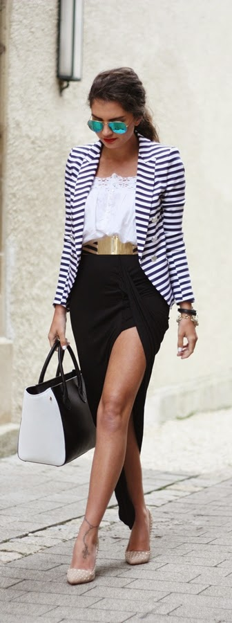 Navy Blue & White Stripes Blazer with Lace Top and Sexy High Waist Skirt | Chic Street Outfits