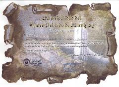 Diploma Otorgado por Municipalidad del C.P. MURUHUAY al Sr Juan Salazar E,-(Guiador)el 25 mayo 2011