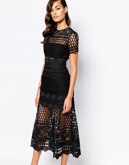 self portrait black cutwork dress, self portrait black midi dress,
