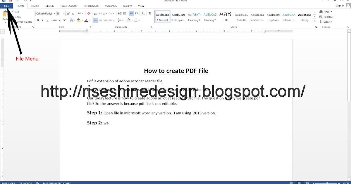 how to create pdf from word file