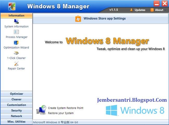 Yamicsoft Windows 8 Manager 2.2.3 Screenshot http://jembersantri.blogspot.com