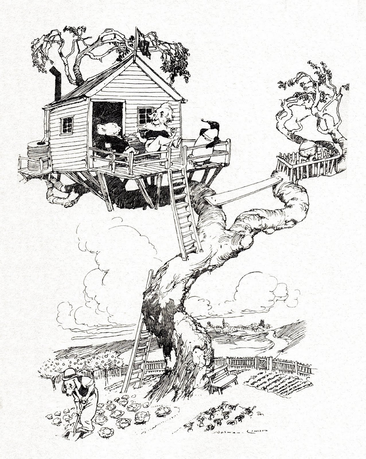 anthropomorphic animals in tree-house (sketch)