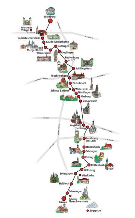 Mapa para recorrer la ruta romantica en Alemania