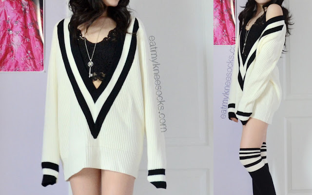 A cute, ulzzang-inspired black-and-white outfit featuring the SheInside striped V-neck sweater, striped knee socks, a lace bralette, and a key necklace.