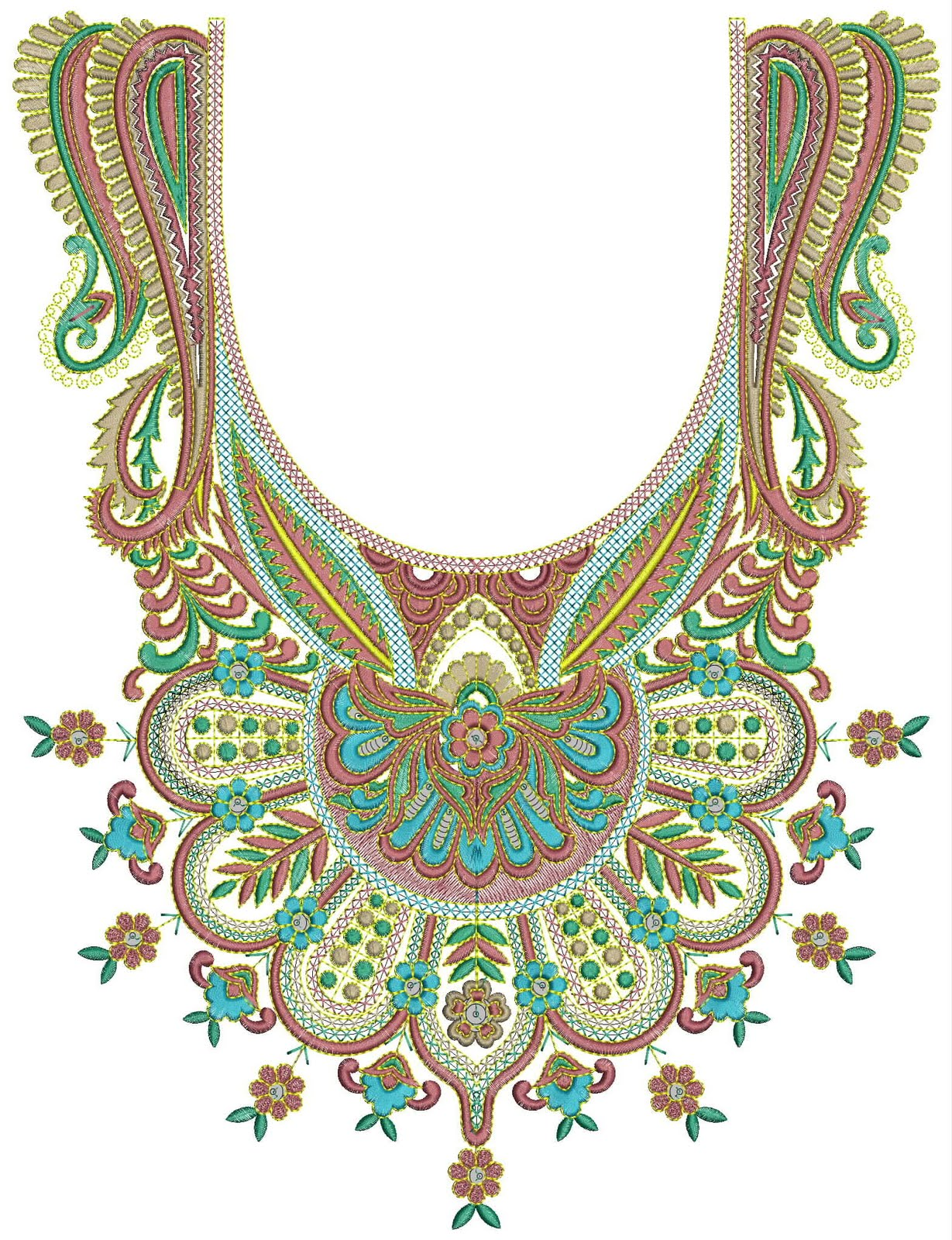 Embroidery Neck Design
