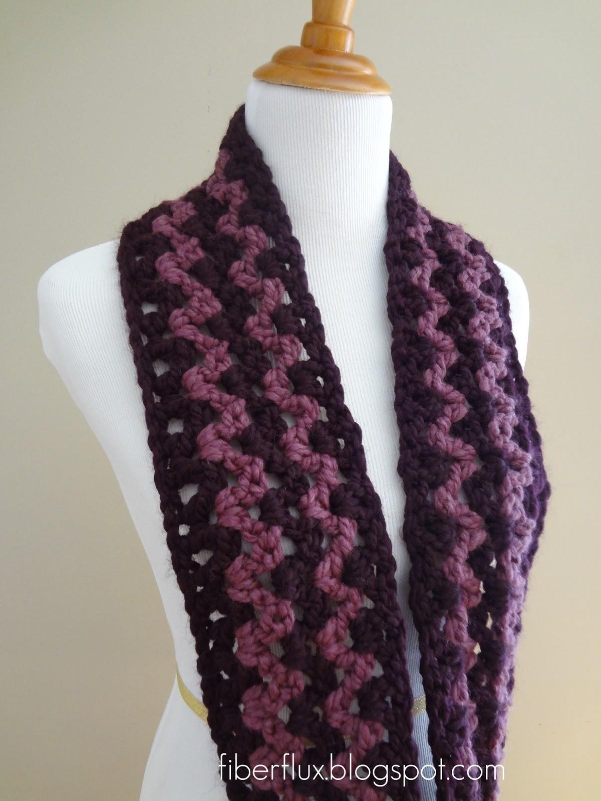 Free Crochet Pattern Pavement Infinity Scarf : Fiber Flux: Free Crochet Pattern...Pinot Noir Infinity Scarf