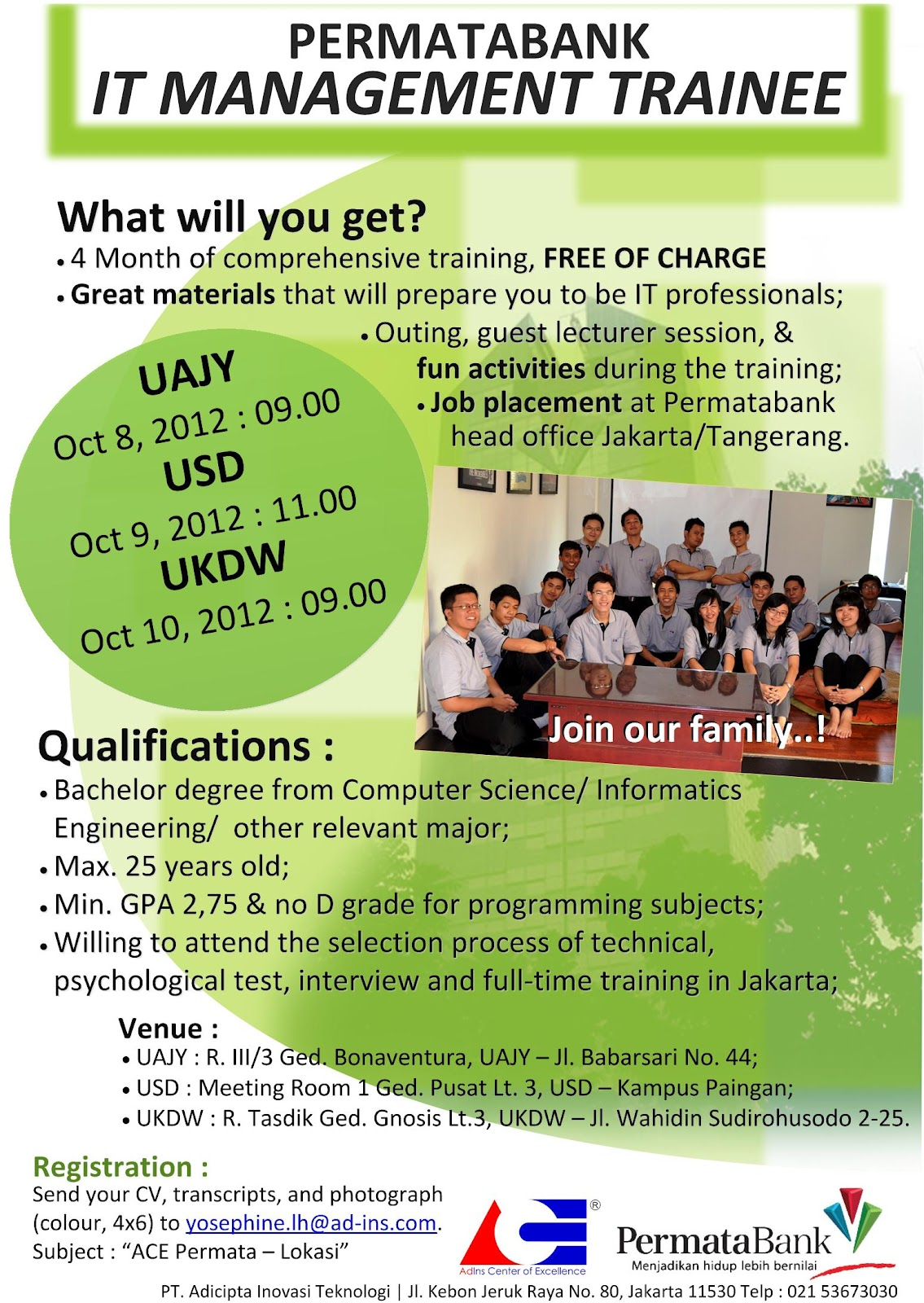 Permata Bank Karir September 2012 : IT Management Trainee Program