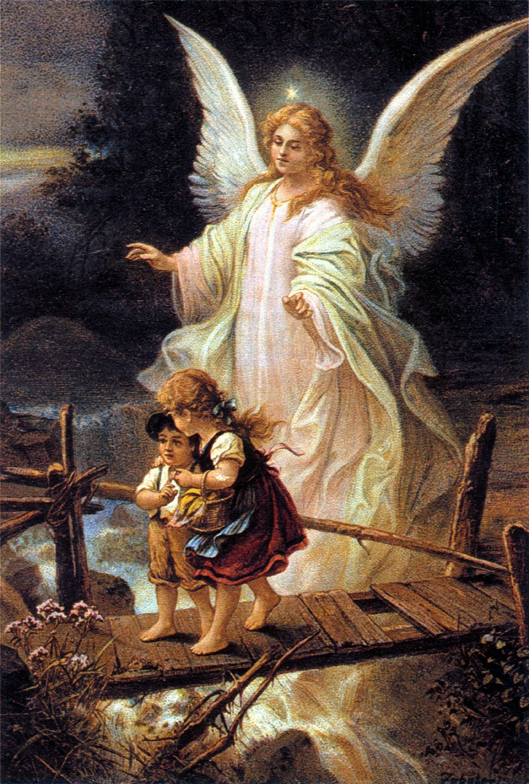 Angel Angelic Cherubim German postcard 1900 similar to works by Bernhard Plockhorst (1825–1907) Guardian Guardian Angel Heaven Heavenly Psychopomp ...