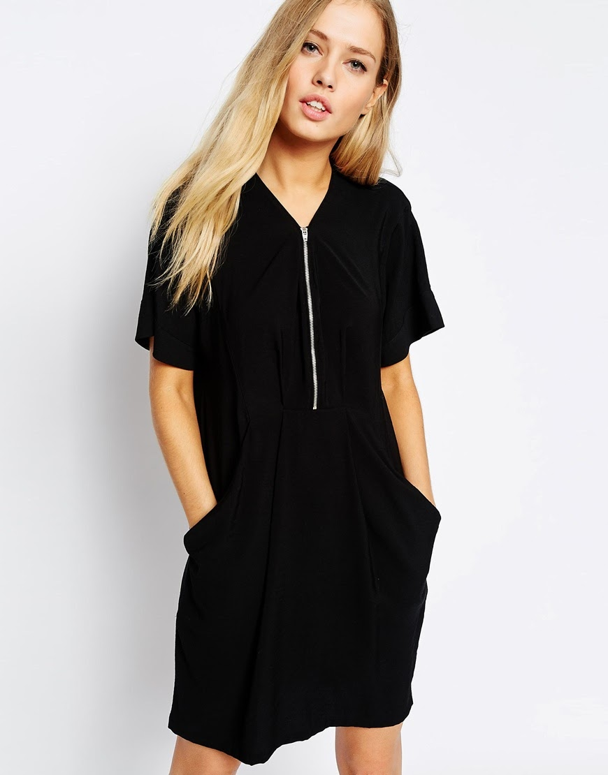 black zip whistles dress, black dress with zip front,