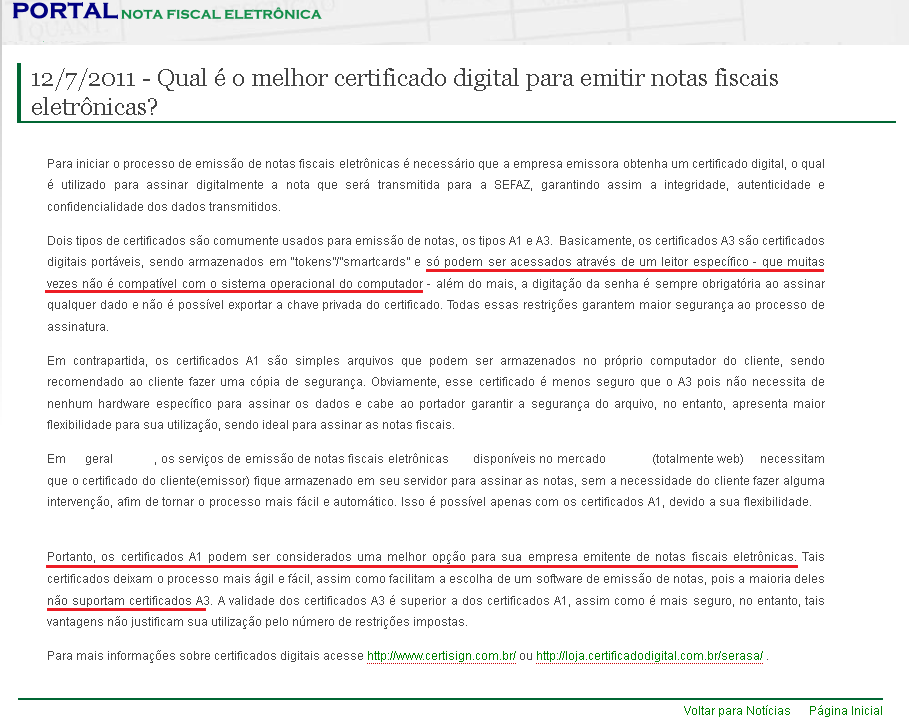 NeXT ERP certificado digital A1