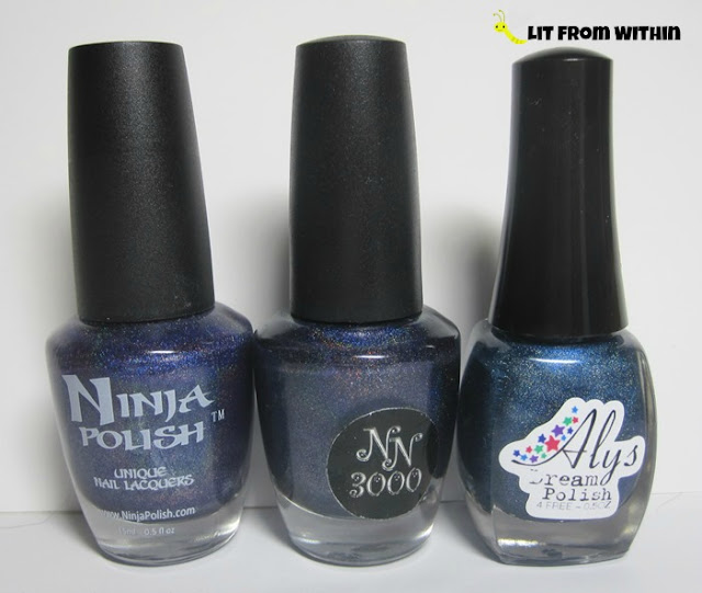 bottle shot:  Ninja Polish Glamorous, NN3000 Doppel Ganger, and Aly's Dream Polish Navy