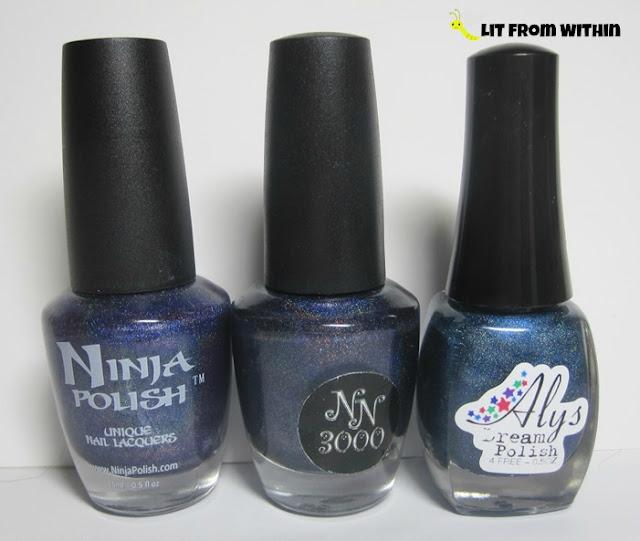 bottle shot:  Ninja Polish Glamorous, NN3000 Doppel Ganger, and Aly's Dream Polish Navy