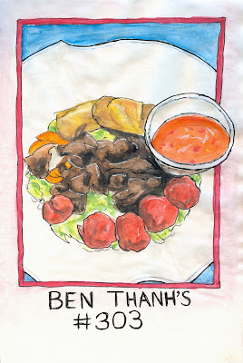 Ben Thanh's Number 303, Vermicelli Bowl Combo drawing by ©Ana Tirolese