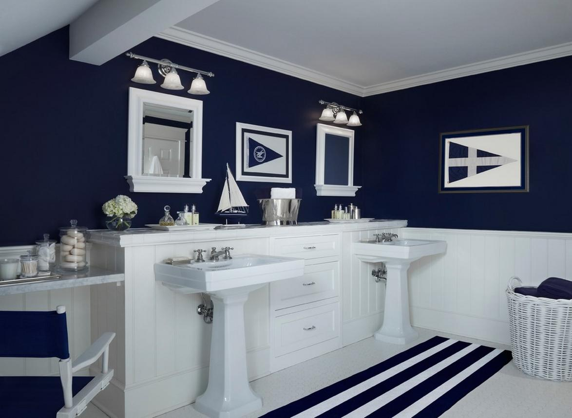 Dark blue and white bathroom - Grey And Navy Blue Bathroom Thursday June 27 2013