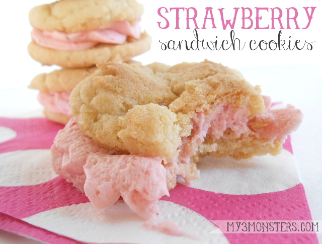 My 3 Monsters: Strawberry Sandwich Cookies