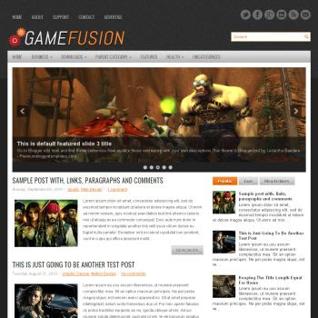 Game Fusion blog template. magazine blogger template style. download blogger template games