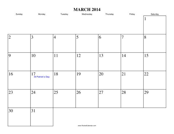 March 2014 Calendar Printable #4 - Printable Calendar 2014, Blank ...