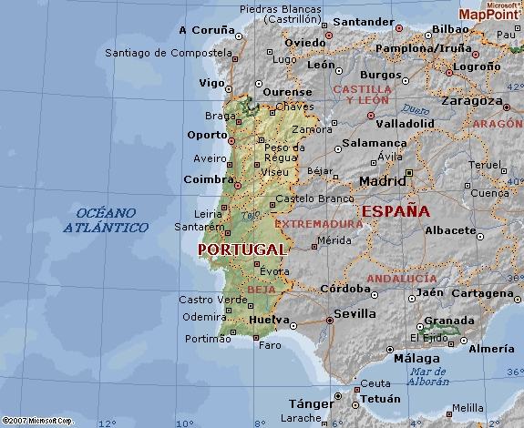 Mapa Geográfico de Portugal