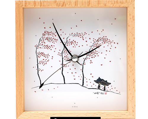 Wooden Clock with Artwork