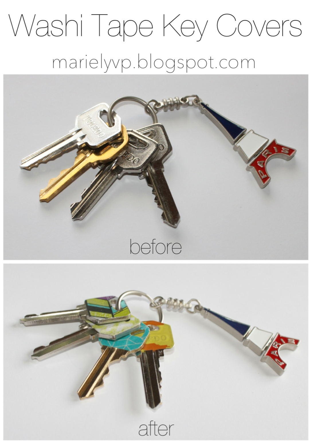 Washi Tape Key Covers Before and After | Washi Tape Ideas | Creative Ways To Use Washi Tape
