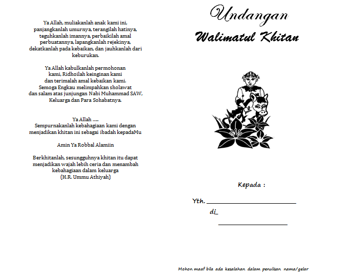 Download Contoh Undangan Walimatul Khitan