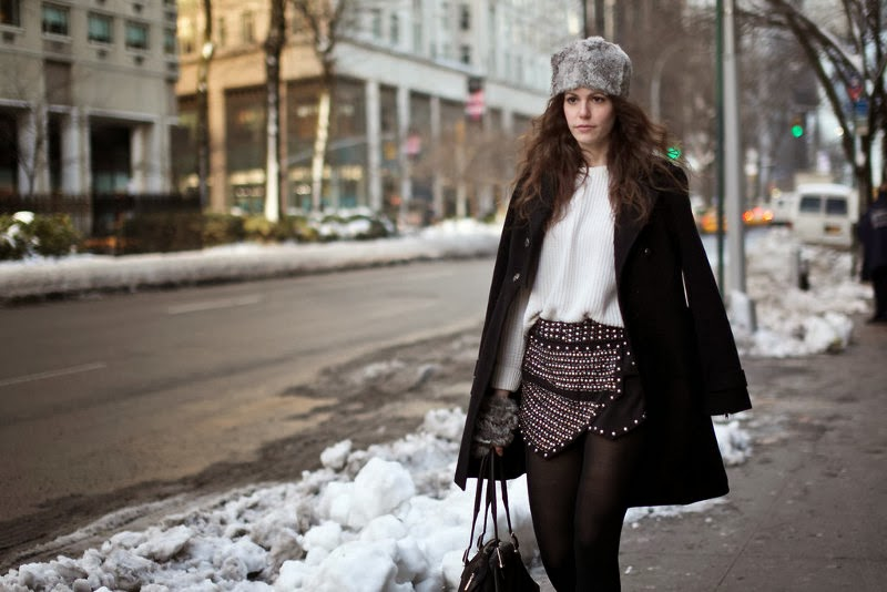 new york fashion week street style, fur hat, black coat, studded skirt