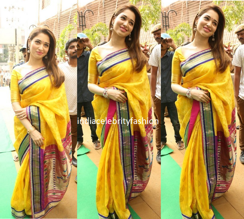 Tamannah in Yellow Designer saree at manepally jewellery launch