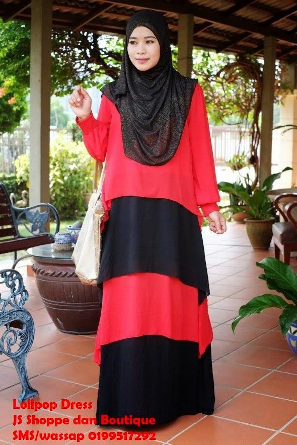 Dress Labuh Lolipop Merah/Hitam