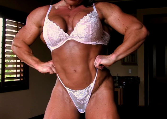 Flexing my sexy muscles in sexy white lingerie