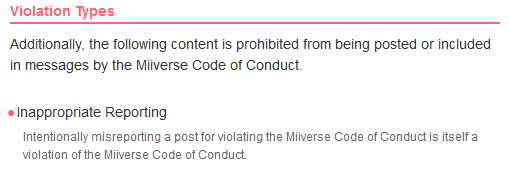 Miiverse code of conduct false reporters reporting inappropriate violation