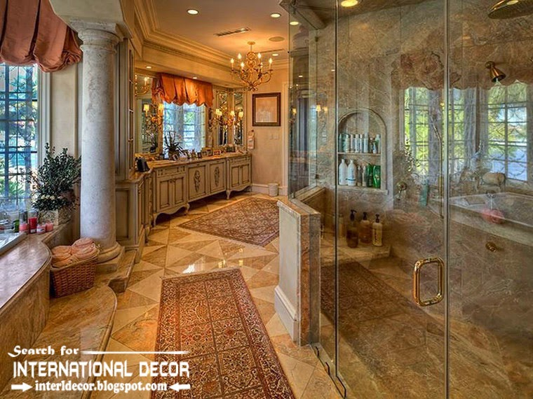 Mediterranean Palace in Florida, American Colonial style, luxury royal bathroom