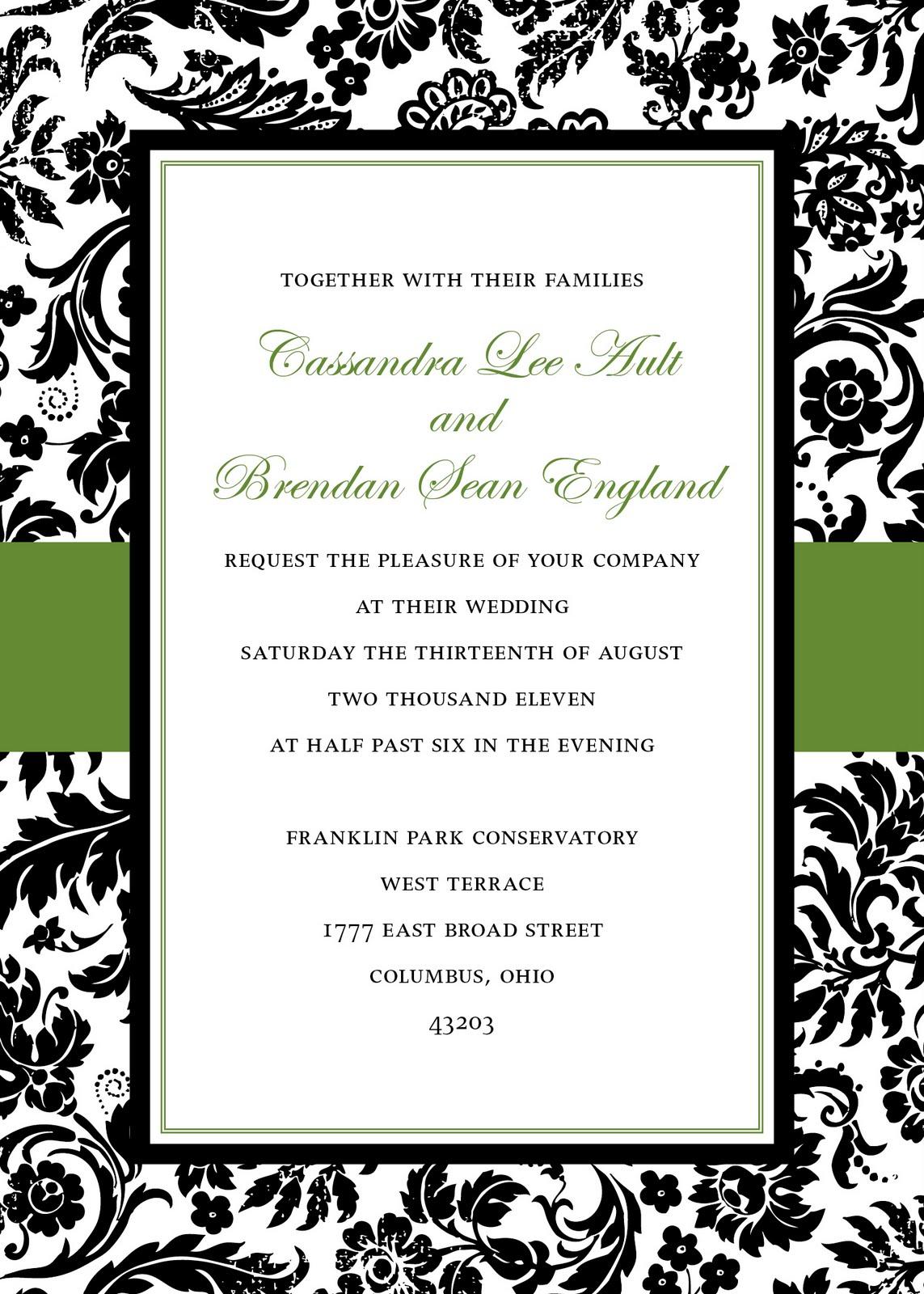 damask wedding invitations damask wedding collection