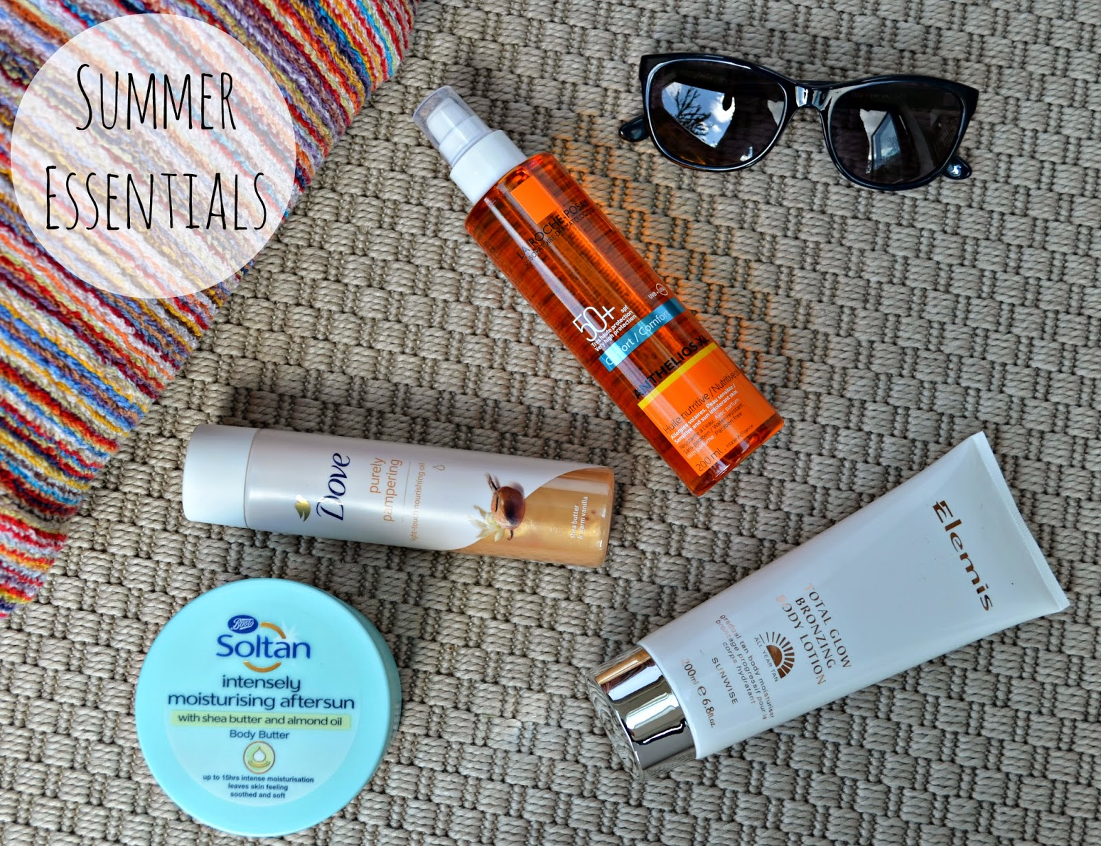 Summer essentials, soltan aftersun, dove shimmer body oil elemis total glow, la roch posay 50
