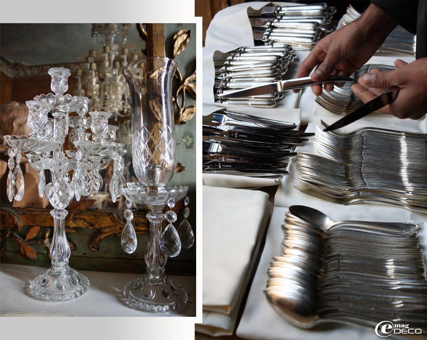 Détail de chandeliers en verre et couteaux Forge de Laguiole