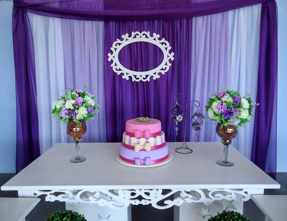 15 anos provençal ( roxo e lilas )  Decoração de festa infantil em