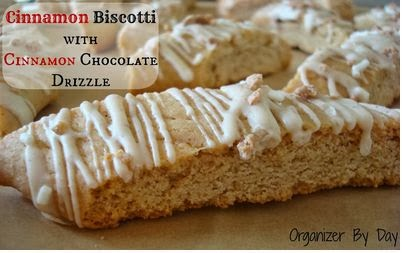 Cinnamon Biscotti with Cinnamon Chocolate Drizzle