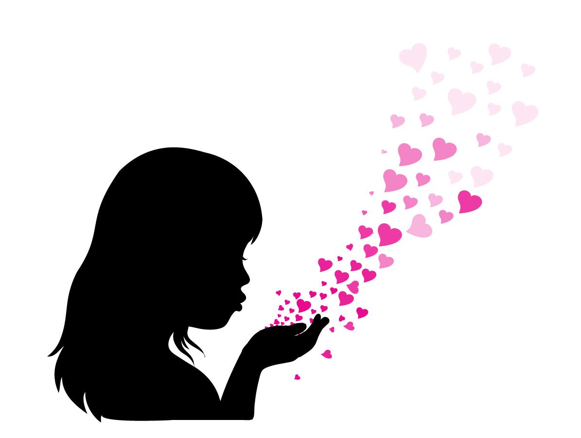 ピンクのハートを吹き上げる少女のシルエット Gilr face and heart イラスト素材