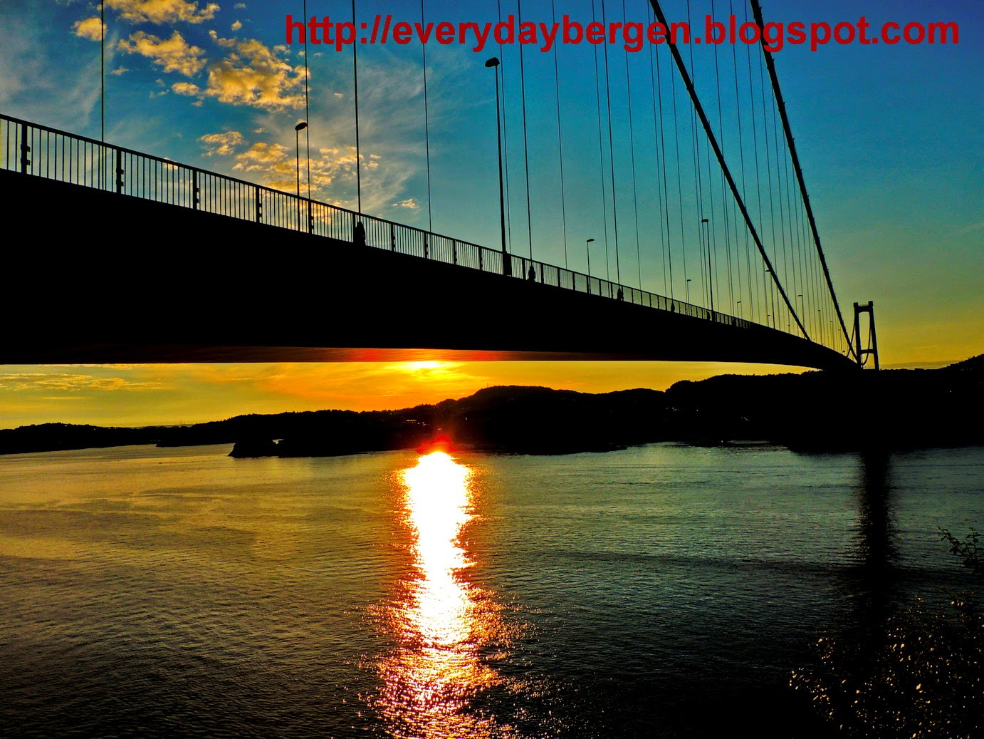 Magical sunset on Askøy bridge.