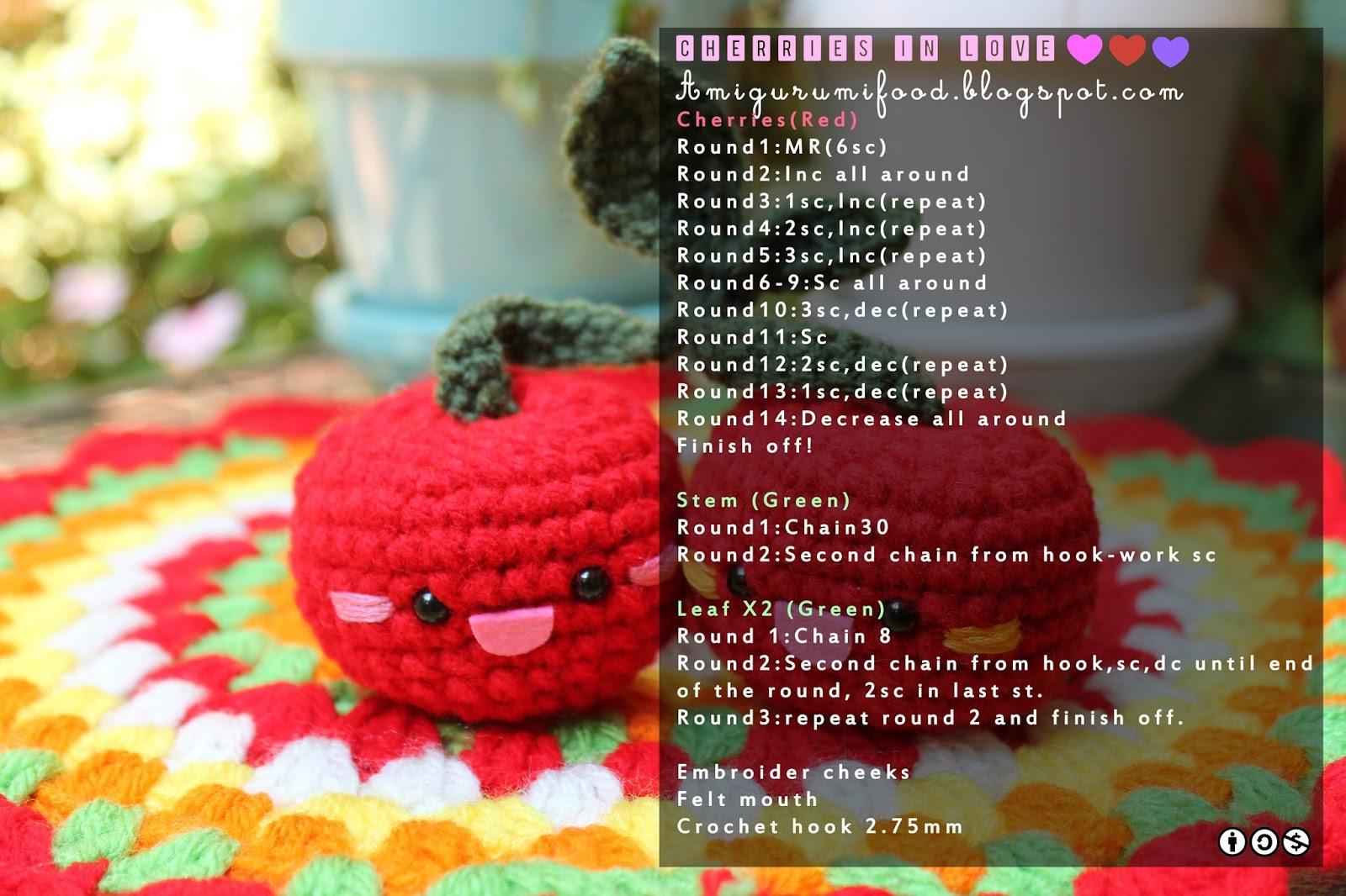 Amigurumi Patterns Free Food : Amigurumi Food: Free Pattern Cherries Amigurumi!