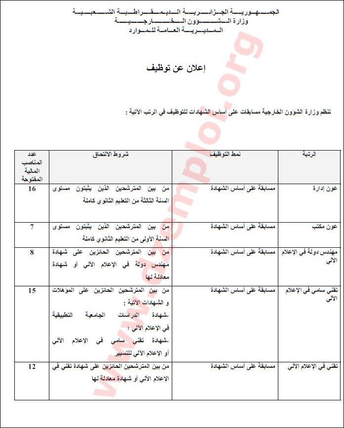 إعلان توظيف في وزارة الشؤون الخارجية 01