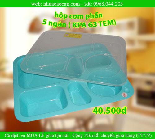 Khay cơm phần, hộp cơm phần 5 ngăn, Khay nhựa, Khay cơm văn phòng