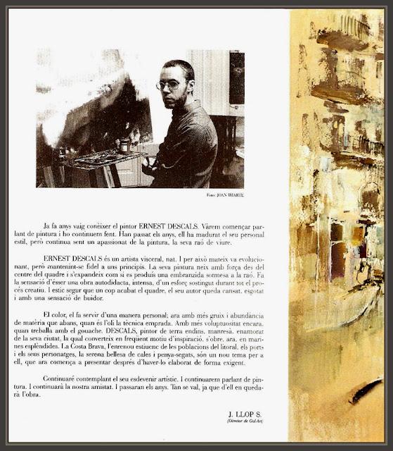 CATALOGOS-EXPOSICIONES-PINTURA-BARCELONA-JOAN LLOP-CRITICO-ARTE-ERNEST DESCALS-PINTOR-