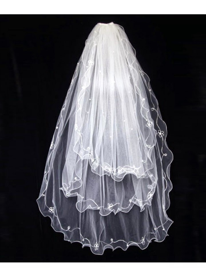 Velo para Vestido de Novia con Capas Multiples Bordadas con Flores