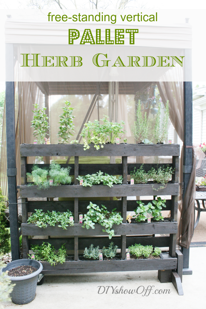 I Love That Junk Free standing pallet herb garden DIY