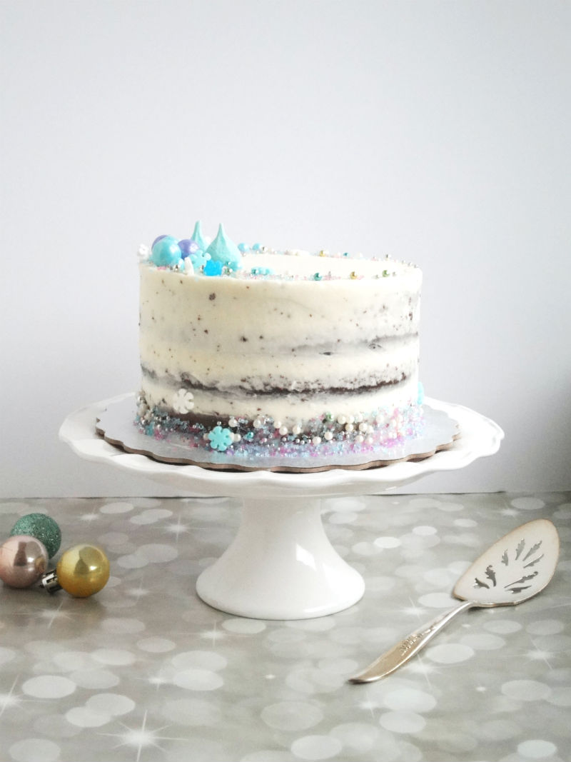 Winter Wonderland cake that I made for a potluck. A chocolate cake ...