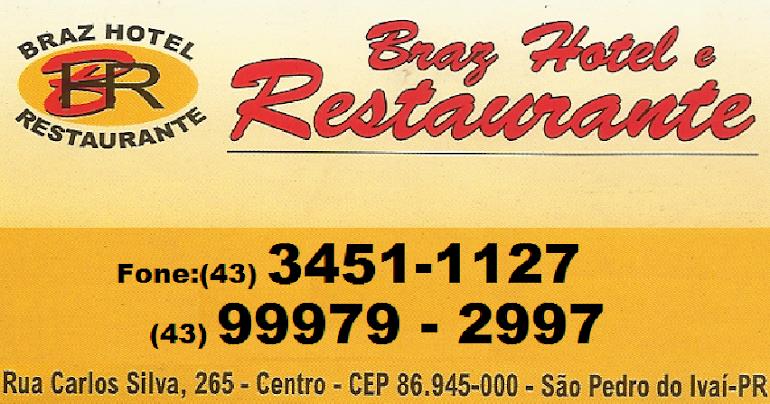 """HOTEL EM SÃO PEDRO DO IVAÍ """" BRAZ HOTEL"""" 43 451-1127"""